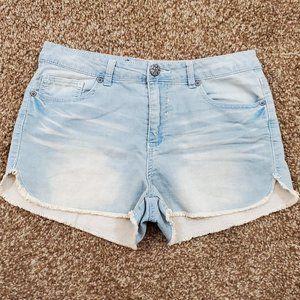 Vanilla Star Light Blue Denim Raw Hem Jean Shorts